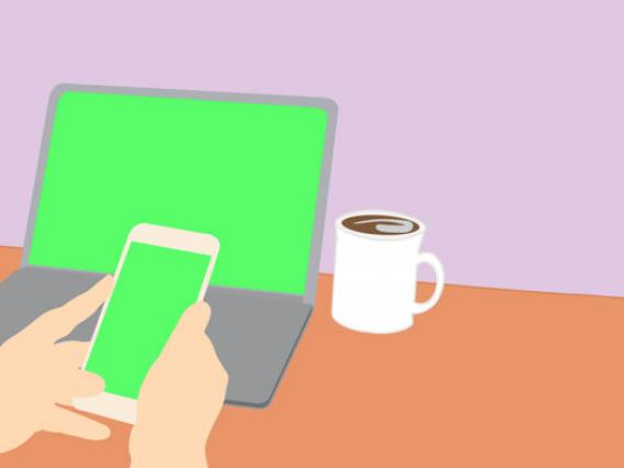 Graphic image of laptop, phone, and coffee